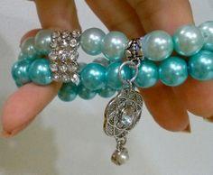 Something Blue Charm Bracelet Two Tone Soft Blue by BreathebyMiki, $28.00