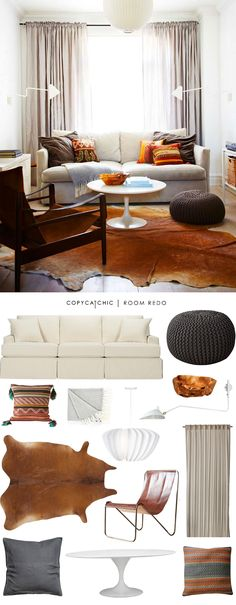 A warm and cozy hipster boho modern living room designed by Hannotte Interiors and recreated for $2554 by @audreycdyer for Copy Cat Chic