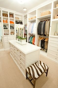 Inspiring Spaces Walk in Closet is part of Master Closet Organization - Walk in Closet Storage Ideas Closet Walk-in, Closet Space, Closet Storage, White Closet, Closet Dresser, Closet Shelves, Cubbies, Purse Storage, Bedroom Storage