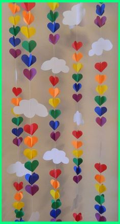 Baby SPRINKLE Decor / SPRINKLE Party / Clouds and Raindrop Rainbow Garland / Baby Shower Decorations / DIY Nursery Mobile - These vertical garlands are SUPER cute for decoration ! Perfect for your sprinkling baby showers - Sprinkle Party, Baby Sprinkle, Diy For Kids, Crafts For Kids, Arts And Crafts, Simple Paper Crafts, Color Paper Crafts, Paper Plate Crafts, Diy Paper