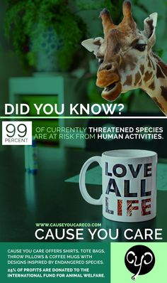 One third of all land mammals and birds risk extinction by the year 2050, largely thanks to humans.   Be part of the solution and purchase one of our cause related pieces. Each design is inspired by endangered species and donates 25% of profits to the International Fund for Animal Welfare. #endangeredspecies #animals #giraffe
