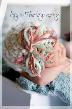 SALE - Merino Wool, Art Yarn Baby Hat,Girl,Twins,Brown,Pink,Newborn Photo Prop,0 to 3 Month,Ready to Ship. $20.00, via Etsy.