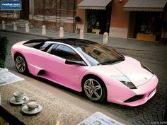 Light Pink fade into a white Car: Lamborghini