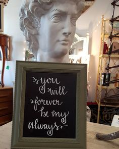 Custom 8x10 chalk art. Frame is painted in Chateau Grey by Annie Sloan chalk paint