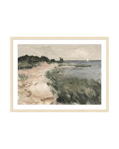 With broad brush strokes, Into the Cove captures the feeling of wind sweeping across the beach. The shoreline directs the eye to its small sailboat, creating motion that guides the viewer through the piece and adds a thoughtful quality to your space. Our art pieces are made to orderand cannot be canceled, returned o Cactus Silhouette, Fruit Sketch, Small Sailboats, Scale Art, Coving, Pop Up Shops, Canvas Paper, Brush Strokes, Landscape Art