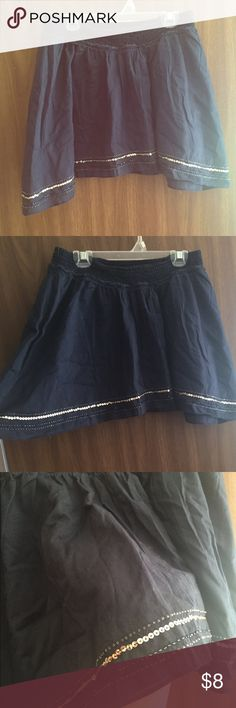 American Eagle Blue Silver Boho Hippie Mini Skirt Perfect condition!! Size small and from a non smoking home. A beautiful blue with silver embellishments, which are all attached! By American Eagle. Adorable with boots flats or sandals! American Eagle Outfitters Skirts Mini