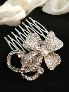 Orchid Crystal Bridal hair comb  wedding hair by CupidsBijoux, $39.00