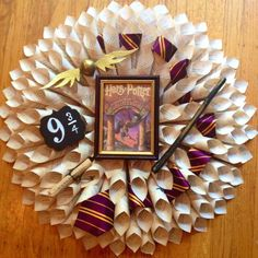 Harry Potter Book Page Wreath by AuroraWreaths on Etsy