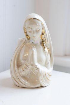 Virgin Mary Vintage Mary Planter Religious Planter Mid Century Decor. Mid Century Ceramic Virgin Mary Planter