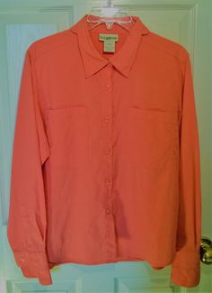 TravelSmith Womens Coral Long Sleeve Button Down Shirt W/ Breathable Mesh Sz. M #TravelSmith #ButtonDownShirt #Casual