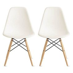 2xhome - Eames Style DSW Molded Plastic Shell Bedroom Dining Side Ray Chair with Brown Wood Eiffel Dowel-Legs Base Nature Legs, White, Set of 2 2xhome http://www.amazon.com/dp/B00R3MWA6K/ref=cm_sw_r_pi_dp_.pPXub1EQ030Y