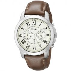 Fossil Men's Grant Stainless Steel and Leather Chronograph Quartz Watch Brown Leather Watch, Quartz Watch, Chronograph, Fossil, Watches For Men, Stainless Steel, Stuff To Buy, Accessories, Egg Shell
