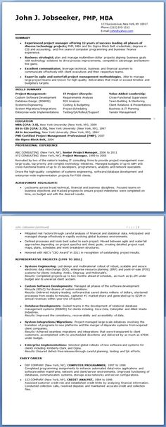Single Page Resume Template Project Manager Cv Example  Cv