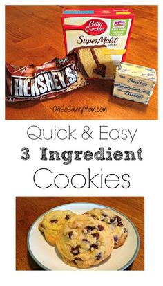 I love how Quick and Easy these 3 Ingredient Chocolate Chip Cookies Recipe are! I love how Quick and Easy these 3 Ingredient Chocolate Chip Cookies Recipe are! Cake Mix Desserts, Cake Mix Cookie Recipes, Easy Desserts, Delicious Desserts, Dessert Recipes, Cake Recipes, Cake Mixes, Nutella Recipes, Sweet Recipes