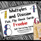 Multiples and Division Pick, Flip and Check Cards Freebie