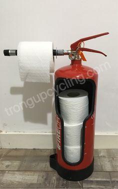 Repurposed fire extinguisher toilet roll holder