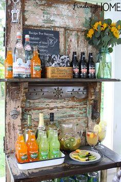 Vintage Door Outdoor Bar Serving Station