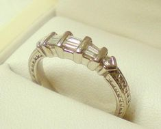 Platinum Dress Ring with Baguette Diamonds