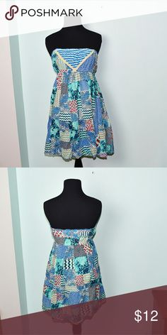 Adorable Blue Patchwork Print Dress In excellent condition! Super cute, stretchy, and lightweight! Buy 3 items and get 1 free plus 15% off your purchase total! Dresses Mini