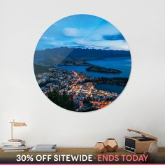 Discover «Queenstown City Lights, New Zealand», Exclusive Edition Disk Print by Daniela Constantinescu - From $84 - Curioos