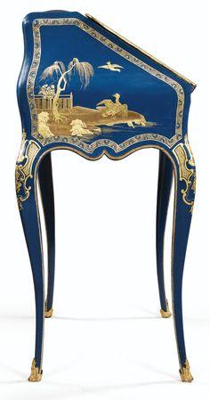 A BLUE-GROUND PARISIAN VARNISH SECRÉTAIRE EN PENTE, LOUIS XV, STAMPED MIGEON