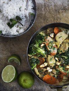 Indrefilet av svin i kokos med gulrøtter og broccoli