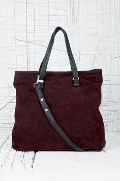 Deena Ozzy Suede Shoulder Bag In Burgundy 109