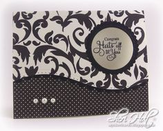 Window card by Sheri Holt using JustRite Celebration Labels One & Bracket Borders One clear stamps with Spellbinders A2 Curved Borders One