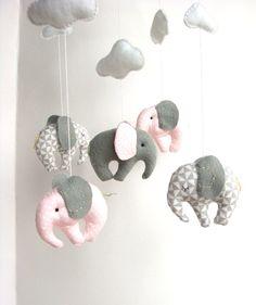 Elephant Baby Mobile Crib Decor New Born by sistersdreams on Etsy, £34.00