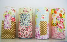 vases decorated with scrap fabrics, love love!