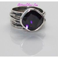 Silpada Jewelry Israel Artisan Gladiator Glam Purple Cubic Zirc..