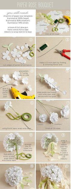 手工DIY  白玫瑰捧花一束。
