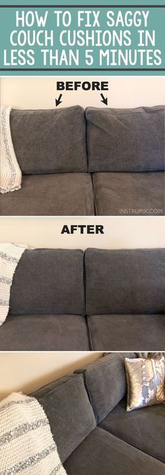 TIP: How To Fix Saggy Couch Cushions (a life hack everyone should know) Home Tip -- How to easily fix sagging couch cushions in less than 5 minutes! This DIY trick will make your couch pillows look brand new! A life hack every girl should know. House Cleaning Tips, Diy Cleaning Products, Spring Cleaning, Cleaning Hacks, Couch Cleaning, Clean House Tips, Deep Clean House, Furniture Cleaning, Furniture Removal