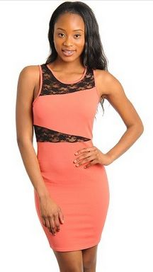 Coral Sleeveless Lace Mini Dress ($45) www.newyorktrendsonline.com
