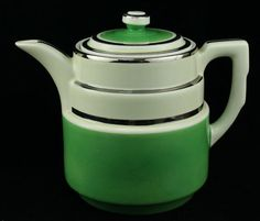 Hall China Green White Terrace Coffee Pot Silver Accent