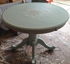 Hot seller.... the soft green stencil round wood table...... Pretty https://www.facebook.com/VortizFurniture