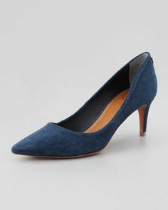 Low Heel Suede Pump Navy Blue