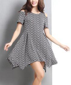 Loving this Black Zigzag Cutout-Shoulder Handkerchief Dress on #zulily! #zulilyfinds