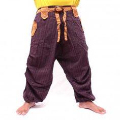 Tailandés pantalón de mezcla de algodón con elástico - magenta