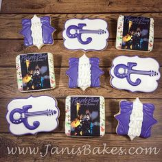 Prince Cookies for a Purple Rain party.  My favorite set so far!  www.janisbakes.com