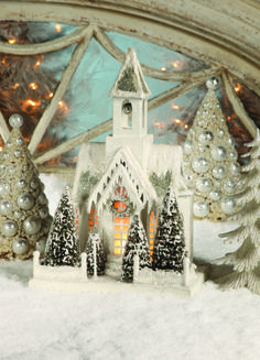 "Pressed paper putz houses with bottle brush trees, covered in textured snow and glitter.""Joyeux Noel"" Shop putz Christmas houses now! Silver Christmas, Noel Christmas, Vintage Christmas, Christmas Crafts, Christmas Decorations, Christmas Ornaments, Holiday Decor, Christmas Mantles, Christmas Scenes"