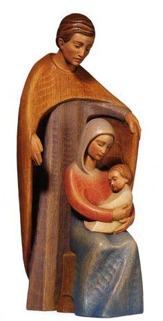 Holy Family in Carved Limba Wood Nativity Creche, Christmas Nativity Set, Noel Christmas, Nativity Sets, Xmas, O Holy Night, Mary And Jesus, Holy Family, Sculpture