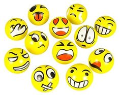 FUN Emoji Face Squeeze Balls- 12 ~ 3' Stress Relax Emotional Toy Balls ~ Fun Office Holiday Gift ~ Stocking Stuffer ~ Gag Toy