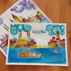watercolor and liners. Istanbul inspiration.  In private collection