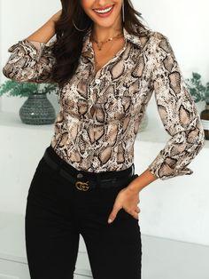 ec7b1315fb2d Shop Snake Print Long Sleeve Casual Shirt – Discover sexy women fashion at  Boutiquefeel