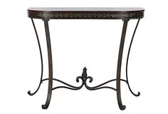 """Georgia Demilune Console Table. This table has a flourish of metal curls and scrolls topped with birch. 38""""W x 16""""D x 30""""H"""
