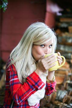 Polished hair, cute flannel shirt, and warm apple cider.  Perfect fall day!