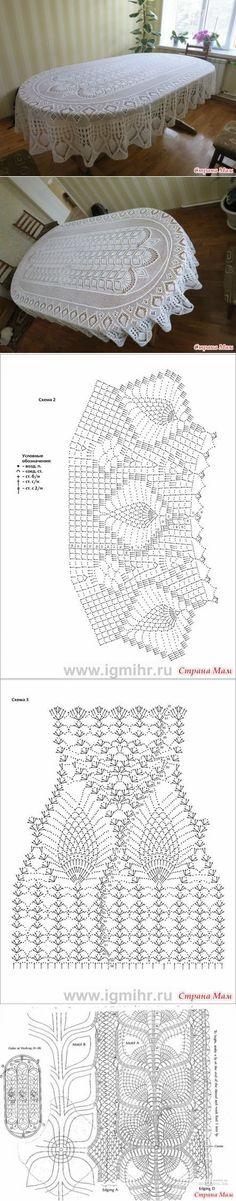 New Crochet Doilies Oval Diagram Ideas Crochet Tablecloth Pattern, Crochet Doily Diagram, Crochet Bedspread, Crochet Doily Patterns, Crochet Chart, Lace Patterns, Thread Crochet, Filet Crochet, Crochet Motif