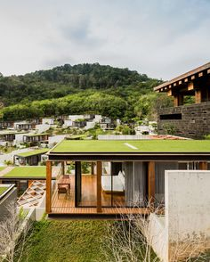 the NAKA phuket hotel and resort in by architect duangrit bunnag of DBALP comprises matchbox-shaped villas that protrude from the sloping terrain. see more about the project on photo by wison tungthunya Architecture Durable, Hotel Architecture, Space Architecture, Sustainable Architecture, Phuket Resorts, Hotels And Resorts, Hilton Hotels, Resort Villa, Building Design