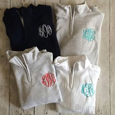 Monogram Quarter Zip Monogram Fleece Pullover by SweetPeas955